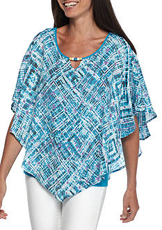 Kim Rogers Printed Cape Sleeve Poncho
