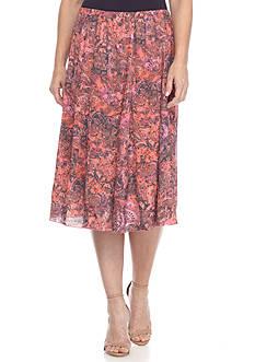 Kim Rogers Fully Lined Print Skirt