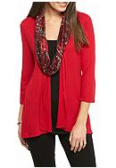 Kim Rogers® 3Fer Ribbed Knit Top with Scarf