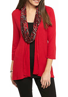 Kim Rogers 3Fer Ribbed Knit Top with Scarf