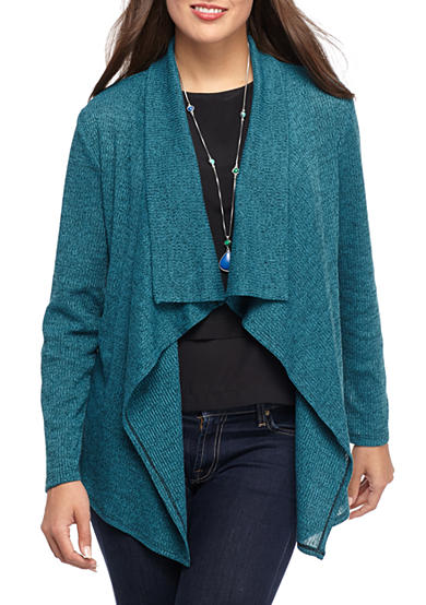 Kim Rogers® Long Sleeve Waterfall Front Cardigan