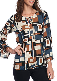 Kim Rogers Rib Printed Tie Neck Top