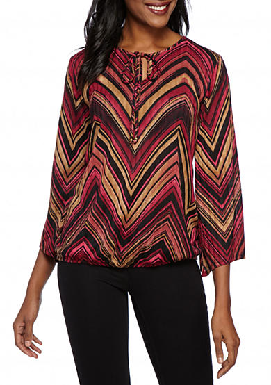 Kim Rogers® Ribbed Print Hacci Top Angle Sleeve Tie Neck