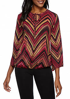 Kim Rogers Ribbed Print Hacci Top Angle Sleeve Tie Neck