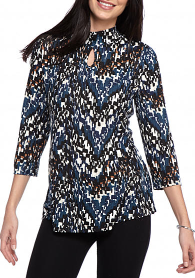 Kim Rogers® Mixed Printed Keyhole Top
