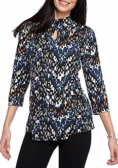 Kim Rogers Mixed Printed Keyhole Top