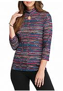 Kim Rogers® Ribbed Printed Hacci Knit Top