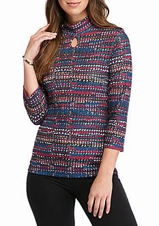 Kim Rogers Ribbed Printed Hacci Knit Top