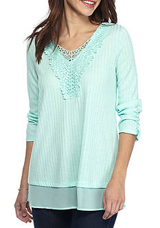 Kim Rogers Crocheted Detail Top