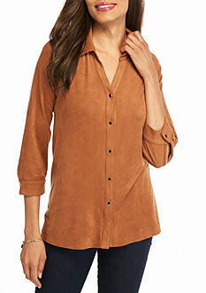 Kim Rogers Collared Blouse with High Low Hem