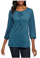 Kim Rogers® Lace Up Popover Solid Knit Top