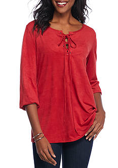 Kim Rogers Lace Up Popover Solid Knit Top
