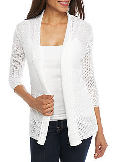 Kim Rogers Three Quarter Sleeve Mix Stitch Cardigan