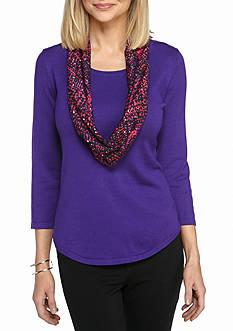 Kim Rogers 3/4 Sleeve Scoop Neck Sweater