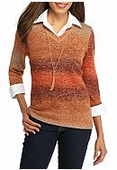 Kim Rogers® Marled V-Neck 2Fer with Necklace
