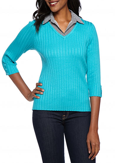 Kim Rogers® 2Fer Solid Ribbed with Pattern