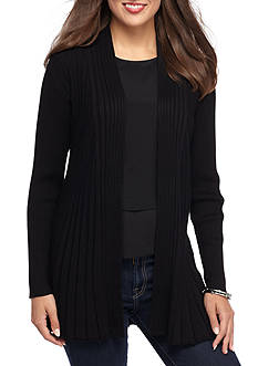 Kim Rogers Long Sleeve Open Front Textured Cardigan