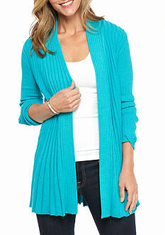 Kim Rogers Open Front Textured Cardigan