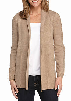 Kim Rogers Solid Pointelle Back Cardigan