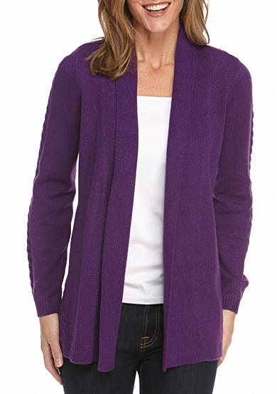 Kim Rogers® Solid Pointelle Back Cardigan