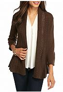 Kim Rogers® Open Front Pointelle Cardigan