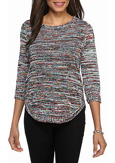 Kim Rogers Crew Neck Round Hem Space-dye Sweater