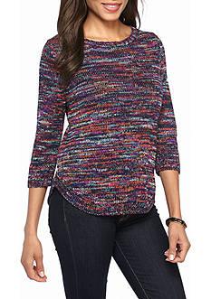 Kim Rogers Crew Neck Round Hem Space-dye Sweater
