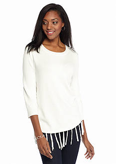 Kim Rogers Three-Quarter Sleeve Pullover With Fringe Detail