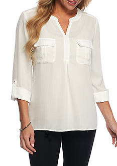 Kim Rogers Petite Wool Popover Camp Shirt