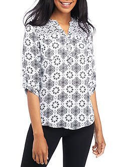 Kim Rogers Petite Size Pattern Mix Y-Neck Mandarin Collar Top