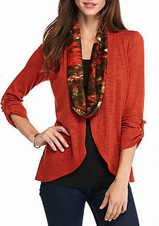 Kim Rogers® Petite Sweater Top Scarf 3Fer