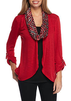 Kim Rogers Petite Sweater Top Scarf 3Fer
