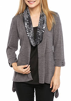 Kim Rogers Petite Three Quarter Sleeve 3fer with Scarf