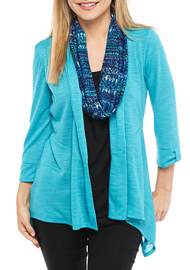 Kim Rogers® Petite Three Quarter Sleeve 3fer with Scarf