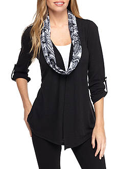 Kim Rogers Petite Three-Quarter Sleeve Top With Printed Scarf