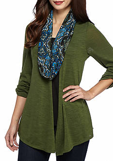 Kim Rogers® Petite Three-Quarter Sleeve Top With Printed Scarf