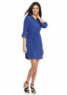 Kim Rogers® Petite Solid Shirt Dress
