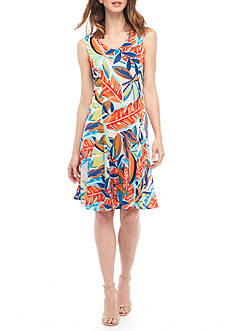 Kim Rogers Petite Sleeveless V-Neck Godet Dress
