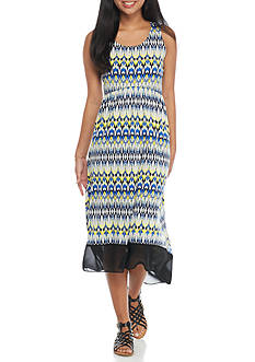 Kim Rogers Petite Printed Hi-Lo Dress