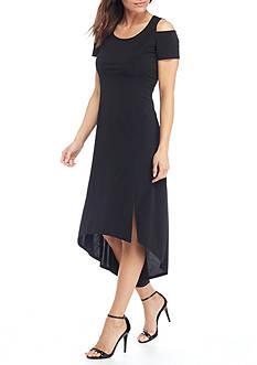 Kim Rogers Petite Size Short Sleeve Hi-Lo Hem Slit Maxi Dress