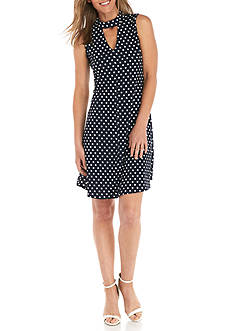 Kim Rogers Petite Sleeveless Keyhole Mock Neck A-Line Dress