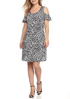 Kim Rogers Petite Size Scoop Neck Cold Shoulder Dress