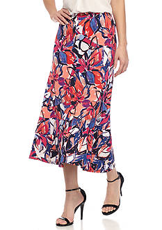 Kim Rogers® Petite Size Floral Print Seamed Skirt