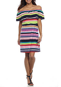 Kim Rogers Petite Size Off Shoulder Stripe Dress