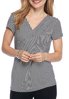 Kim Rogers Petite Size Stripe Knit Top