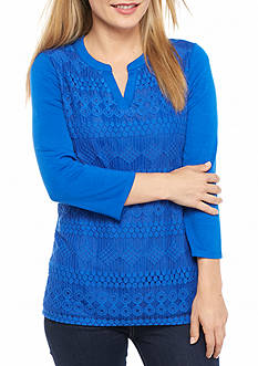 Kim Rogers Petite Split Neck Lace Front Top