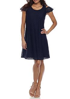 Kim Rogers Petite Lace Cold Shoulder Dress