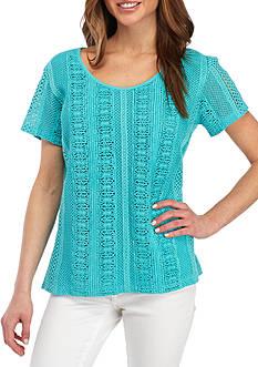 Kim Rogers Petite Size Cap Sleeve Vertical Lace Top