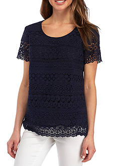 Kim Rogers Petite Size Layered Lace Solid Top