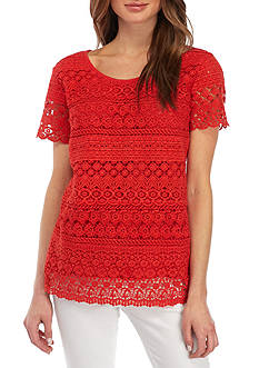 Kim Rogers® Petite Size Layered Lace Solid Top